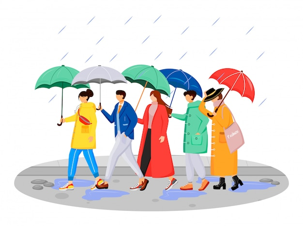People in raincoats flat color faceless characters. walking caucasian humans with umbrellas. rainy day. men and women on road isolated cartoon illustration on white background