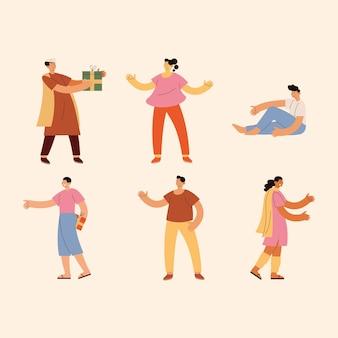 People and raksha bandhan celebration icon set