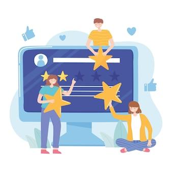 人々の評価とフィードバックのウェブサイトのソーシャルメディアのイラスト