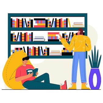 People read a book flat illustration