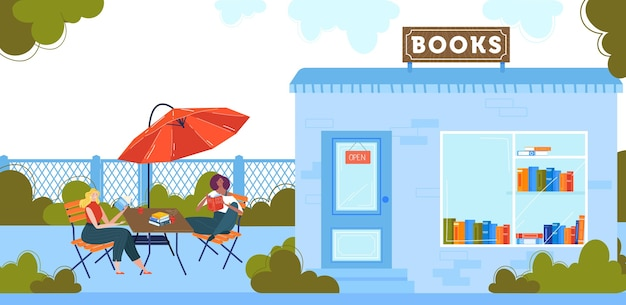 People read books flat vector illustration. cartoon happy reader woman characters sitting at tables of outdoor street cafe