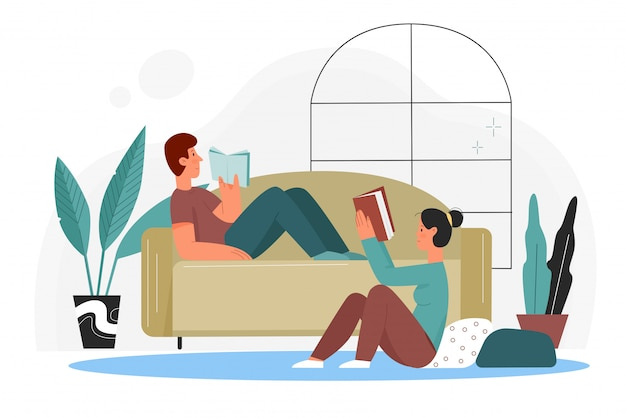 People read books at home illustration. cartoon flat couple booklovers reading books from library or bookstore, sitting on floor and lying on sofa in home living room interior isolated