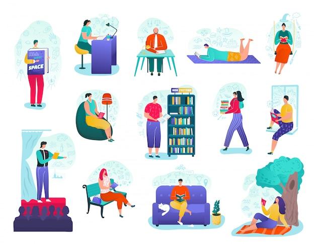 人々は本セット、教育、図書館、舞台の公共の読書イラストを読みます。文学と本の読者と愛好家、知識、自然の教科書で学ぶ人々。