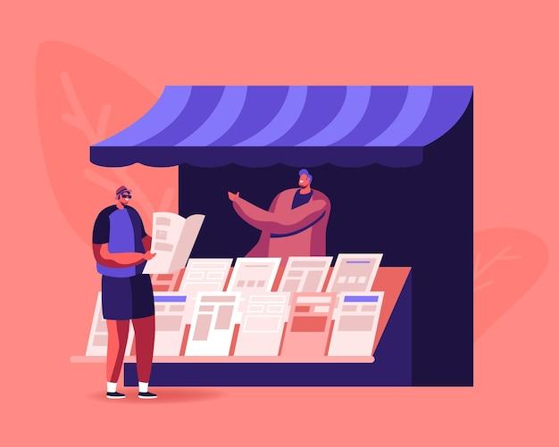 Люди читают и продают газеты. мужской персонаж стоит в киоске и читает новости во время прогулки по улице. мультфильм плоский иллюстрация