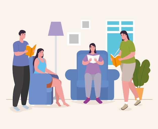 Люди читают книгу на стульях дома, дизайн деятельности и досуга