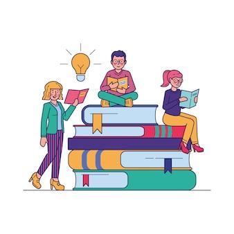 Люди читают книги для изучения векторных иллюстраций