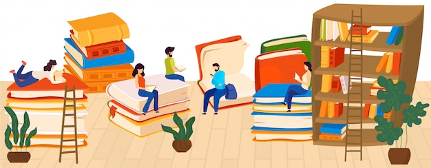 People reading books, lovers to read, knowledge and education, stacks of giant books and readers cartoon  illustration.