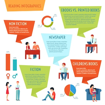People reading books magazines newspaper infographics set