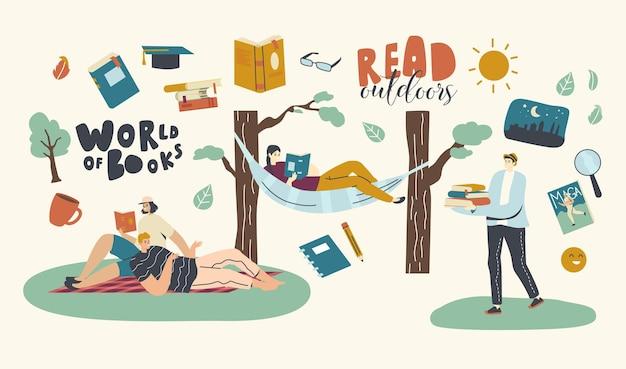 屋外で本を読む人。幸せな男性と女性のキャラクターが面白い本で野外の暇を過ごす