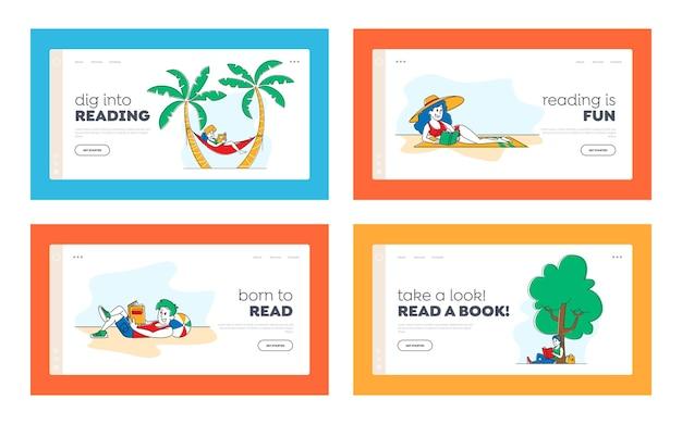 Люди, читающие книги, набор шаблонов наружной целевой страницы
