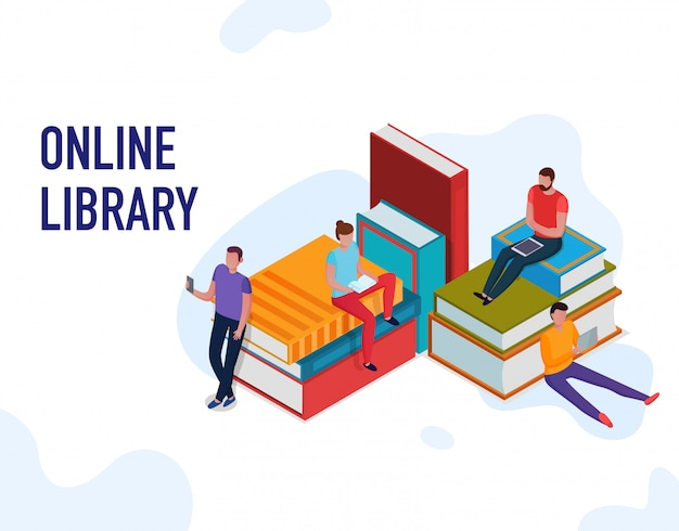 People reading books and using online library 3d isometric