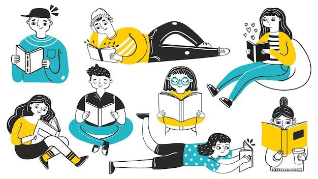 책을 읽는 사람들. 젊은 여성과 남성이 아늑한 포즈로 취미를 즐기고 있습니다. 손으로 그린 학생들은 학습합니다. 만화 스케치 책 독자 벡터 세트입니다. 책을 가진 여자 사람, 문학 읽기 그림
