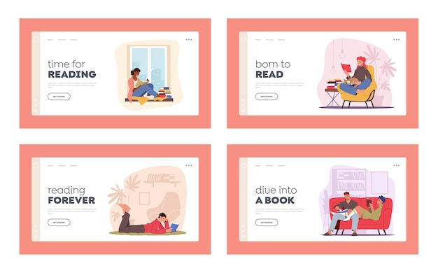 People reading at home, education sparetime landing page template