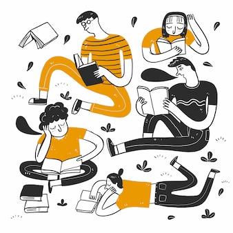 Люди читают в парке. Premium векторы