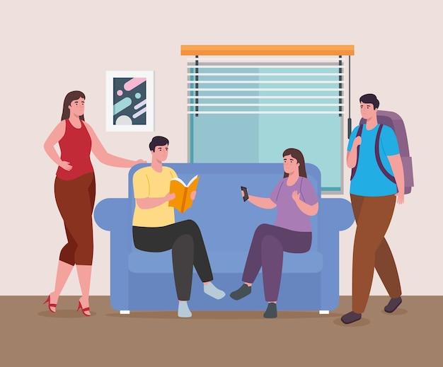 Люди, читающие с контролем и сумкой, домашний дизайн для деятельности и отдыха