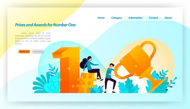People received prizes and awards for number one with 3d gold style with trophies, first, hashtag. landing page web template