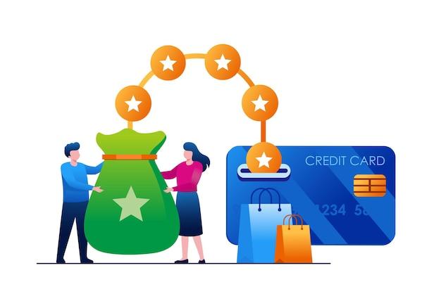 人々はクレジットカードからポイントを受け取ります。ショッピングのキャッシュバックの概念。フラットイラストベクトル