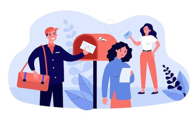 마케팅 뉴스 레터를 받고 읽는 사람들. 우편 배달 부는 봉투를 우편함에 넣습니다. 메일 서비스, 광고, 게시물, 통신 개념에 대한 그림