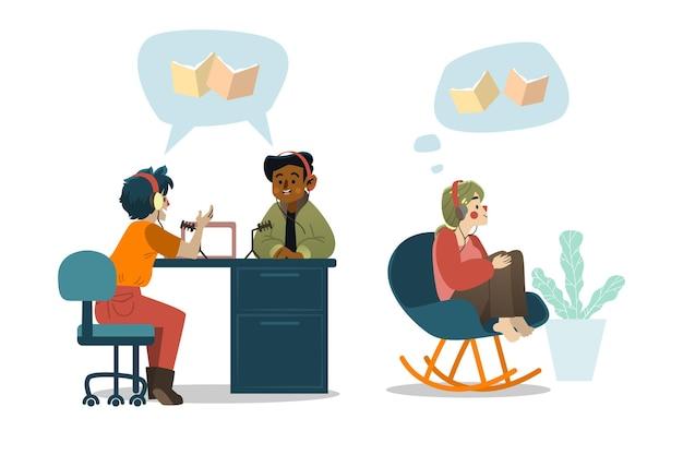 Набор людей, записывающих и слушающих подкасты