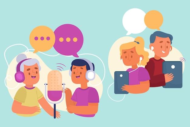 Люди вместе записывают и слушают подкасты