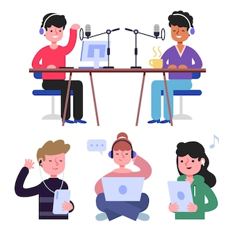 People recording and listening podcasts