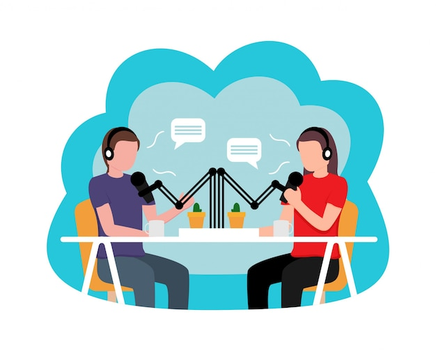 People recording podcast flat design