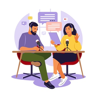 People recording podcast in studio podcasters talking in microphone recording podcast in studio vector illustration