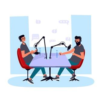 팟 캐스트를 녹음하는 사람들