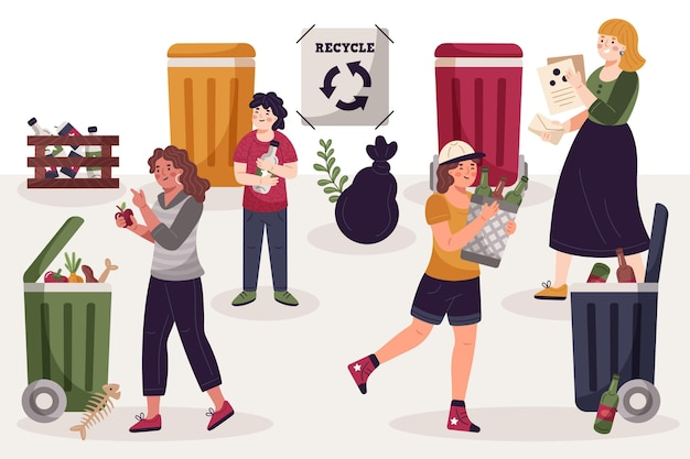 People recycling concept