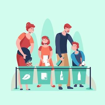Persone riciclate insieme illustrate