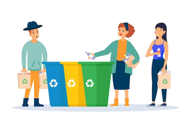 Persone che riciclano insieme