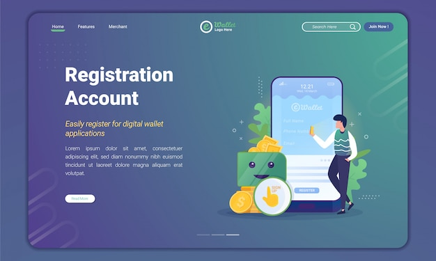 People register or create an account to e-wallet application on landing page template