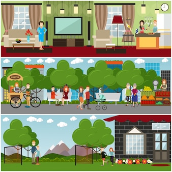 People and relations   flat poster or banner set