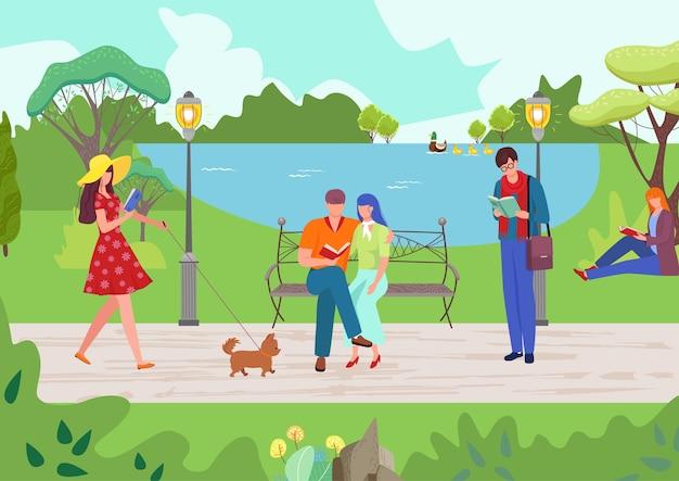 Люди расслабляются в парке природы иллюстрации