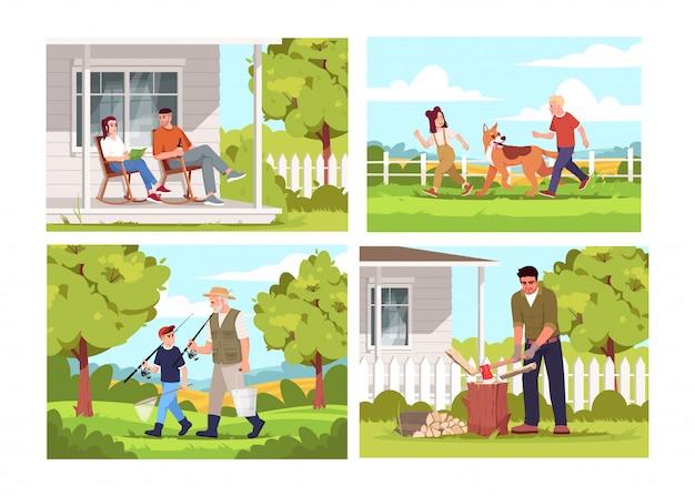 사람들은 마을 반 평면 그림 세트에서 휴식을 취합니다. 낮에는 농부가 안뜰에 앉아 있습니다. 아이들은 강아지와 놀아요. 물고기에 간다. 상업용 농촌 생활 2d 만화 캐릭터