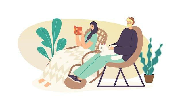 사람들은 의자 개념에서 휴식을 취합니다. 편안한 젊은 여성은 집에서 아늑한 고리버들 회전 의자나 안락의자에 앉아 재미있는 책을 읽습니다