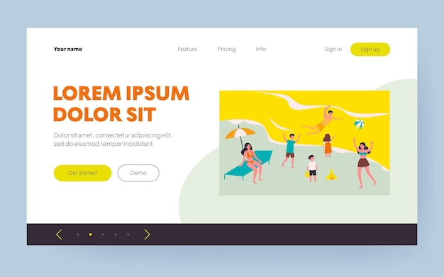 People relaxing on beach. happy tourists bathing in sea water, getting tan flat vector illustration. vacation, summer, outdoor activity concept for banner, website design or landing web page