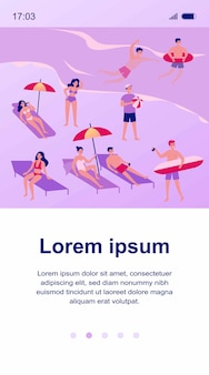 People relaxing at beach   illustration. cartoon various characters sunbathing under umbrella, swimming in ocean and playing games. vacation and summer activity concept