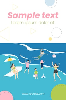 People relaxing on beach illustration