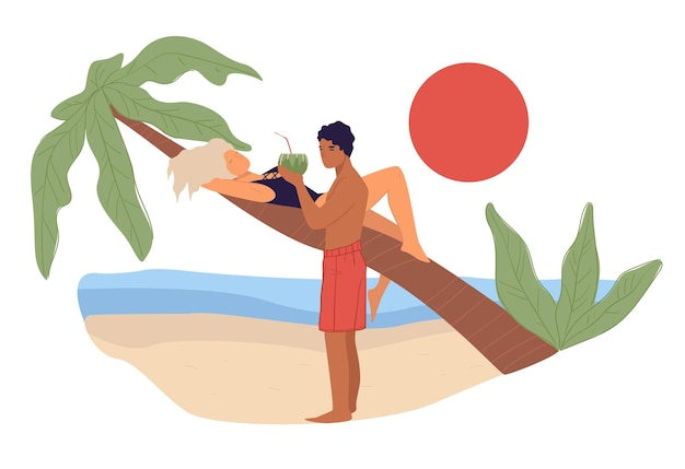 People relaxing by tropical seaside, woman laying on palm tree watching sunset and man bringing cocktail in coconut shell to girlfriend