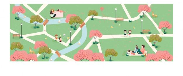 공원에서 봄 시간에 자연 속에서 편안한 사람들. 봄 배너의 넓은 파노라마.