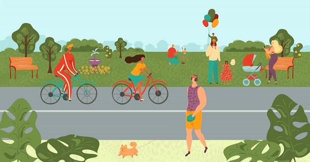公園でリラックスした人、自転車、スポーツをしている人、夏の漫画イラストの自然風景の中で子供と遊ぶ親。
