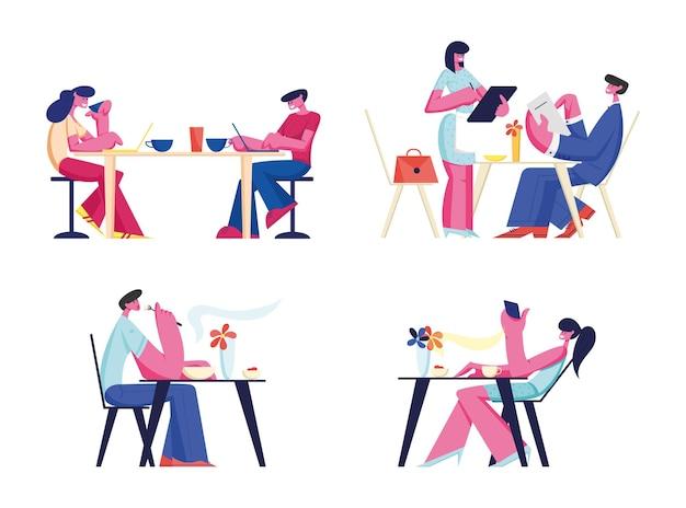 レストランやカフェセットでリラックスする人々。テーブルに座ってコーヒーを飲んだり、食事用のガジェットを食べたりするキャラクター。漫画フラットイラスト
