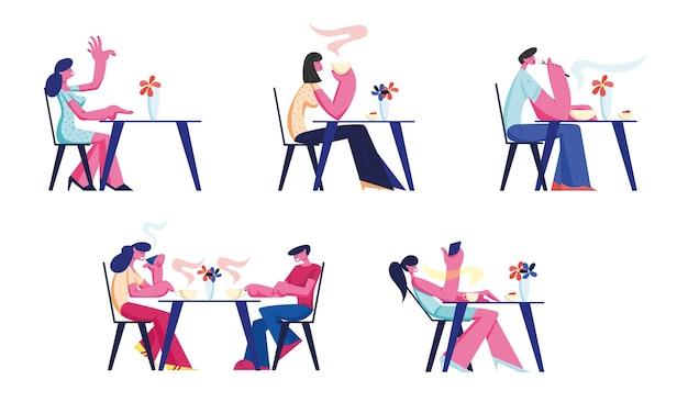 레스토랑이나 카페 세트에서 편안한 사람들.
