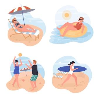 해변 개념 장면 세트에 편안한 사람