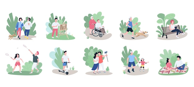 People relaxing outdoors flat color vector faceless characters set. weekend pastime, open air recreation, family rest, active lifestyle isolated cartoon illustrations on white background