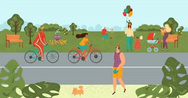 People relaxing in park, bicycling, doing sport, parents playing with kids in nature landscape in summer cartoon  illustration.