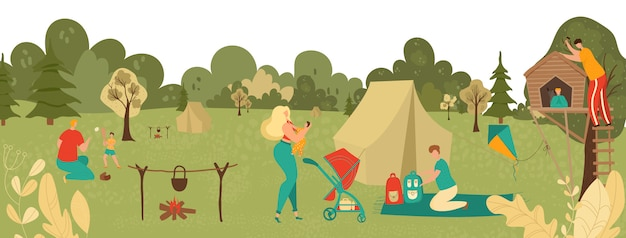 People relaxing in park with kids, parents playing with children, picnic and hiking in nature landscape in summer cartoon  illustration.