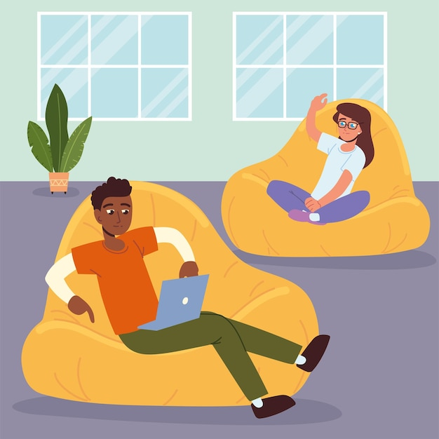 People relaxing sitting