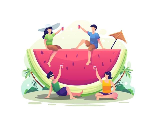 여름 그림에서 수박 주스를 마시는 동안 휴식을 취하는 사람들